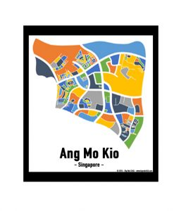 Ang Mo Kio - Singapore Map Print - Full Colour