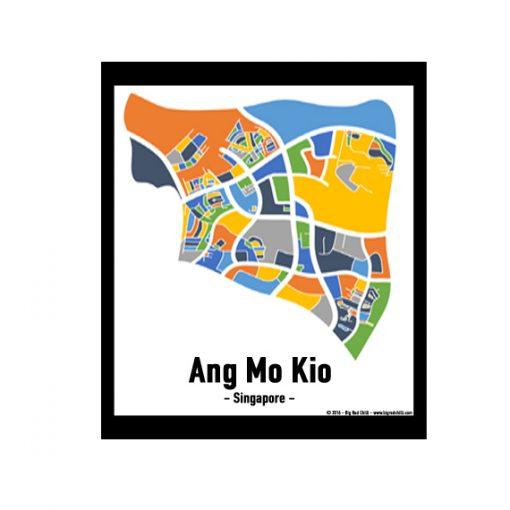 Ang Mo Kio - Singapore Map Print - Full Colour