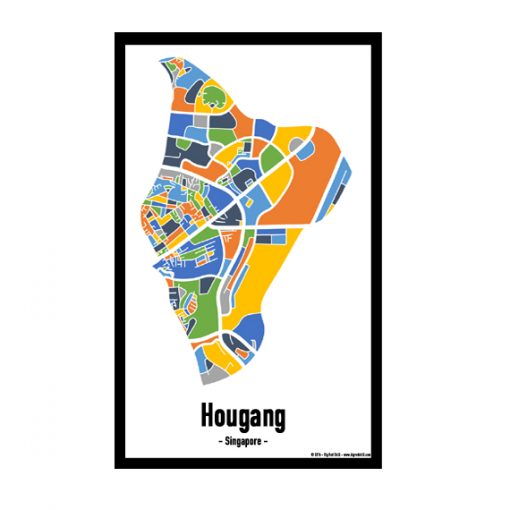 Hougang - Singapore Map Print - Full Colour
