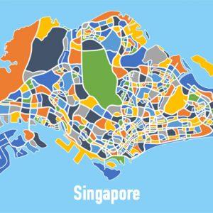 Singapore Map Print - Full Colour