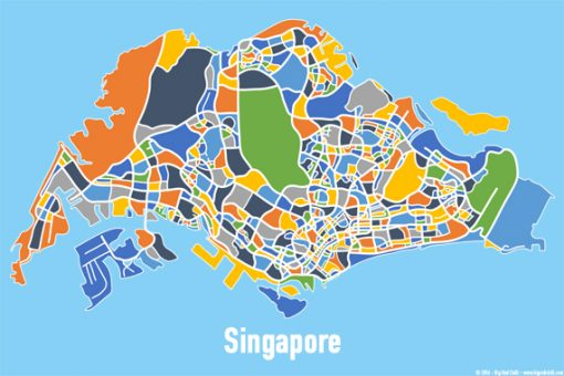 Singapore Map Print - Full Colour