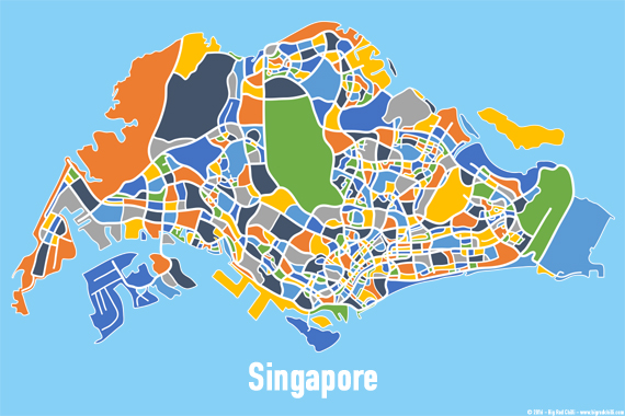 Singapore Map Print Full Colour Big Red Chilli