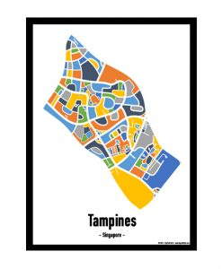 Tampines - Singapore Map Print - Full Colour