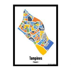Tampines - Singapore Map Print - Full Colour