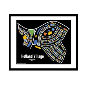 Holland Village - Singapore Map Print - Full Colour - Black Background