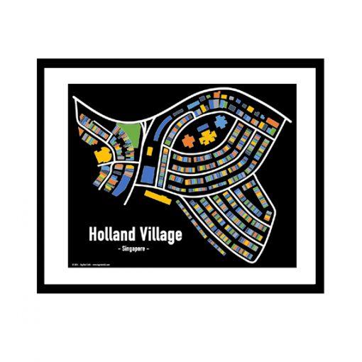Holland Village - Singapore Map Print - Full Colour - Black Background