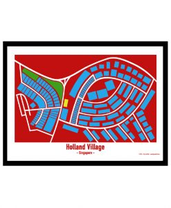 Holland Village - Singapore Map Print - Full Colour - Red Background