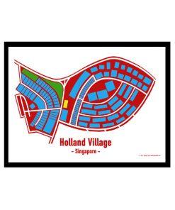 Holland Village - Singapore Map Print - Full Colour - White Background