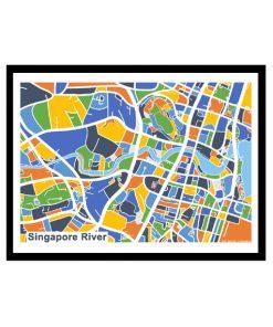 Singapore River - Singapore Map Print - Full Colour