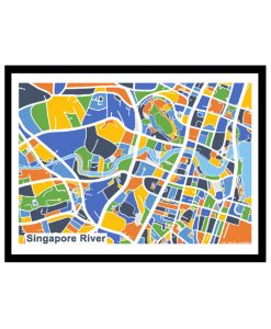 Singapore River - Singapore Map Print - Full Colour