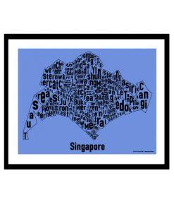 Singapore Text Map - Black on Blue