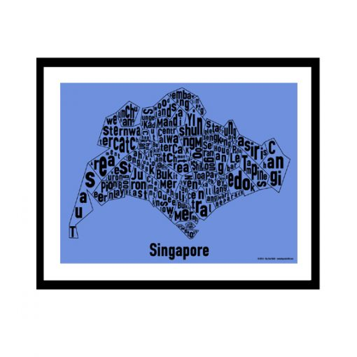 Singapore Text Map - Black on Blue