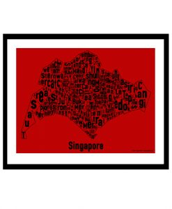Singapore Text Map - Black on Red