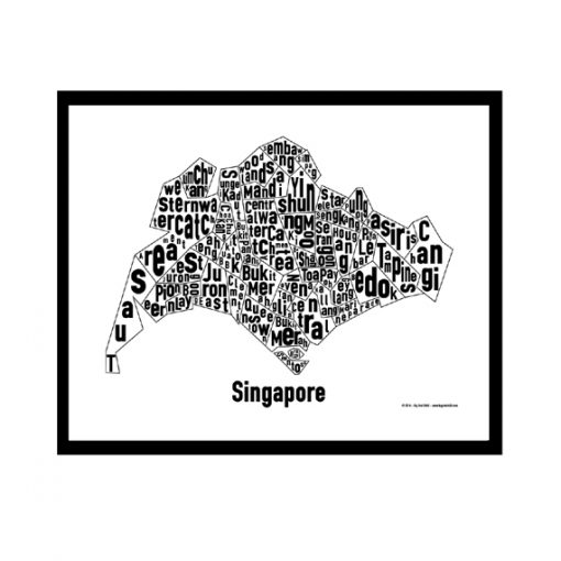 Singapore Text Map - Black on White