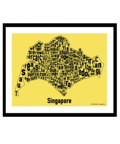Singapore Text Map - Black on Yellow