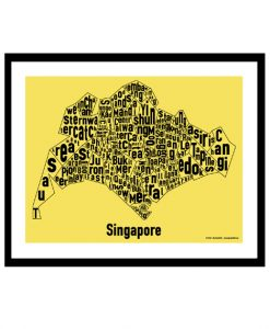 Singapore Text Map - Black on Yellow