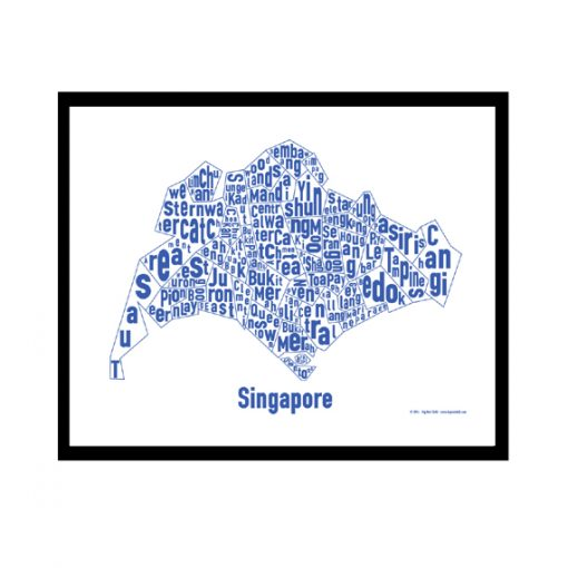 Singapore Text Map - Blue on White