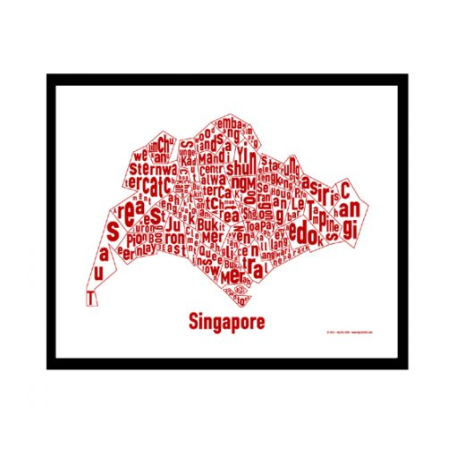 Singapore Text Map - Red on White