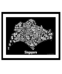 Singapore Text Map - White on Black