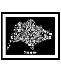 Singapore Text Map - White on Black