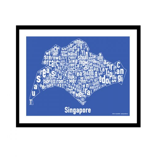 Singapore Text Map - White on Blue