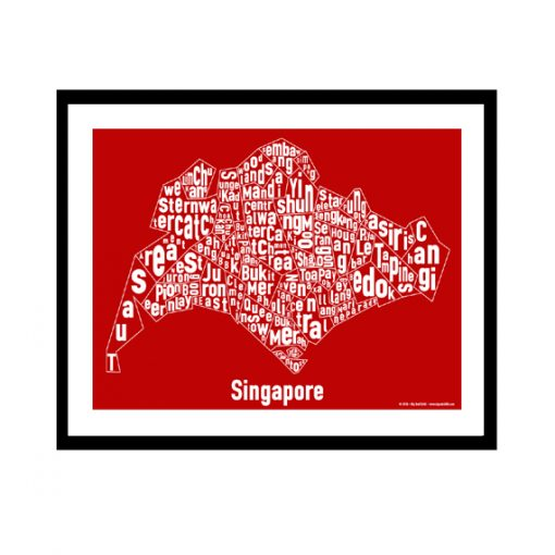 Singapore Text Map - White on Red