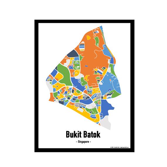 Bukit Batok – Singapore Map Print – Full Colour