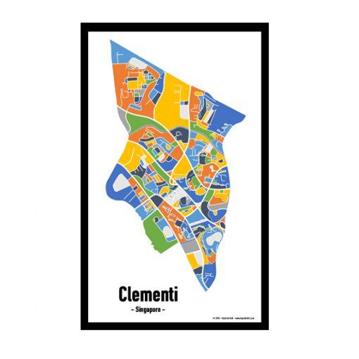 Clementi - Singapore Map Print - Full Colour